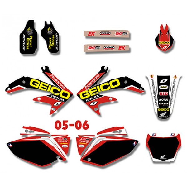 2006 Honda Crf450r: GEICO Graphics Decals Kit For HONDA CRF450R CRF450 2005