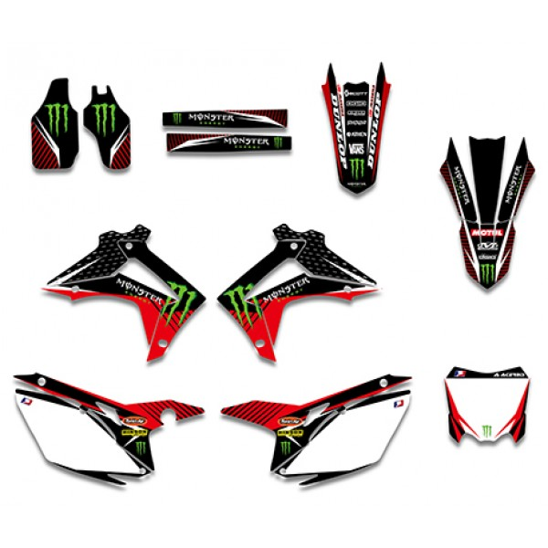 Monster Graphics Decals Kit For HONDA CRF250R CRF250 2014 CRF450R CRF450 2013 Black White