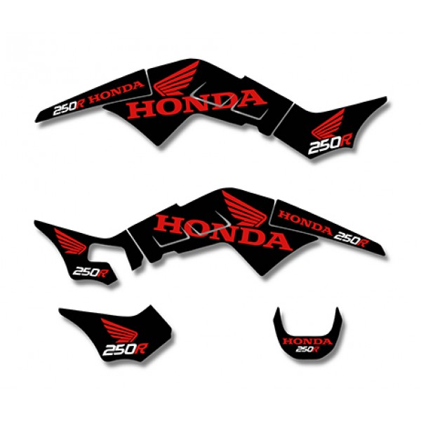 Graphics Decals Kit For Honda Trx250r 250r Fourtrax Black Red