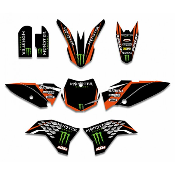 Monster GRAPHICS DECALS Kit For KTM SX65 2009 2012Black Red