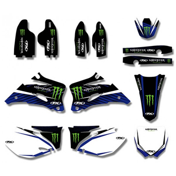 Monster GRAPHICS DECALS Kit For YAMAHA YZ250F YZ450F 2006 2009 Bule White